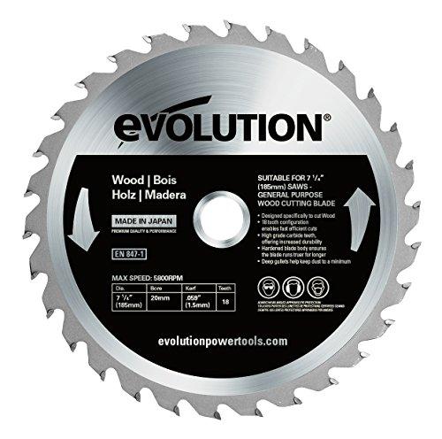 Evolution Power Tools–Bj rageblade185wood Evolution 185mm Holz Hartmetallbestückt Klinge, 0V, Multi, 185mm