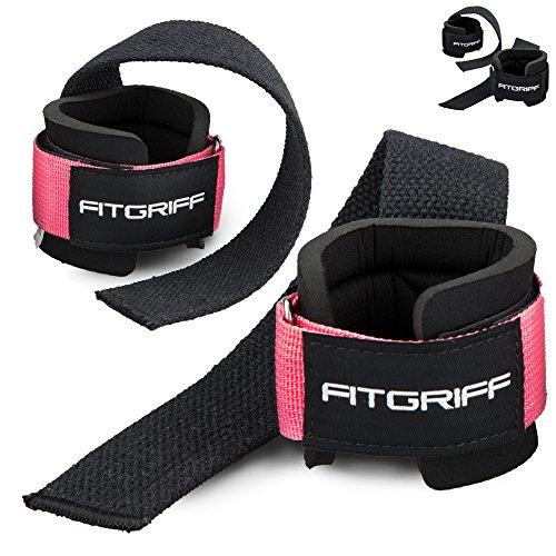 Fitgriff Zughilfen mit Handgelenkschutz Comfort Zughilfe für Krafttraining, Fitness, Bodybuilding und Gewichtheben - für Frauen und Männer - 2 Jahre Gewährleistung (Pink)