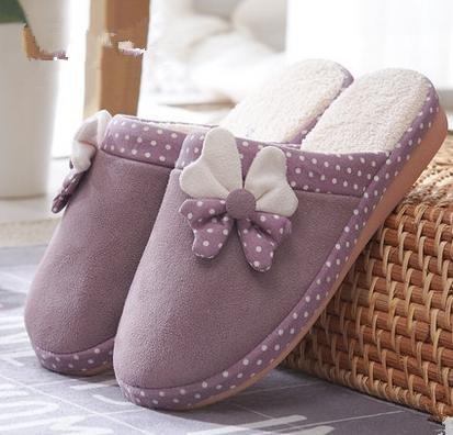 Le donne cadono e pantofole di cotone carino inverno coperta calda con mezzo pacchetto di, casa anti - ciabatte antiscivolo per uso domestico Purple