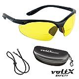 voltX 'CONSTRUCTOR' BIFOKALE Schutzbrille mit Lesehilfe CE EN166F zertifiziert / Sportbrille für Radler (GELB +1.0 Dioptrie) enthält Sicherheitsband + Sicherheitsetui mit steifem Clamshell Verschluss – Bifocal Safety Glasses