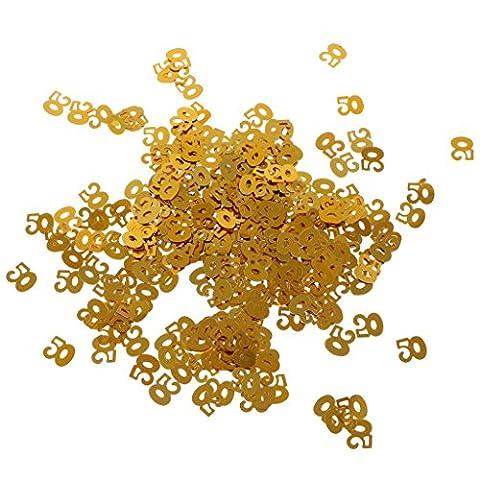 MagiDeal Confettis Anniversaire Chiffre Age Plastique Doré Décoration de Table - 50