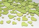 RiloStore 240 STK Holz Herzen hellgrün Naturdeko grün Hochzeit Tischschmuck Vintage Streuteile Holzherzen Holz Herz Dekoherzen Streuherz Streudeko Basteln Valentinstag Muttertag Tischdeko Holzherz