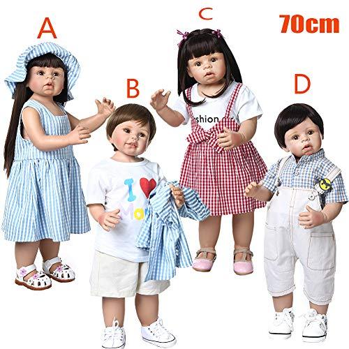 Zaoyun 70cm Muñecos Bebé,Reborn Baby Dolls Muñecos Bebé Vinilo Suave Silicona Muñeca Realista Recién Nacido Regalo (B)