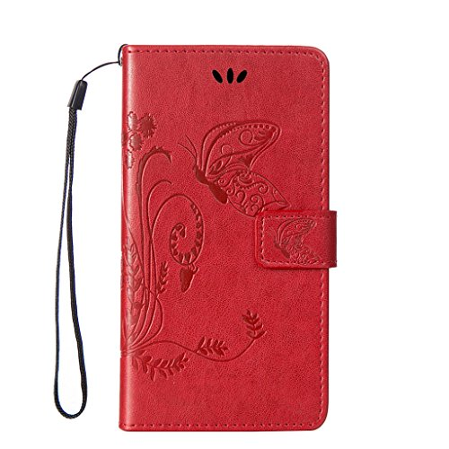 Fubaoda PU Cuir Étui pour Apple iPhone 5 5S/5SE Nature Fleur Housse Papillon Coque Stand Fonction Magnétique Anti Choc Perfekt Folio Protection Case Silicone Souple Shell pour Apple iPhone 5 5S/5SE, c rouge