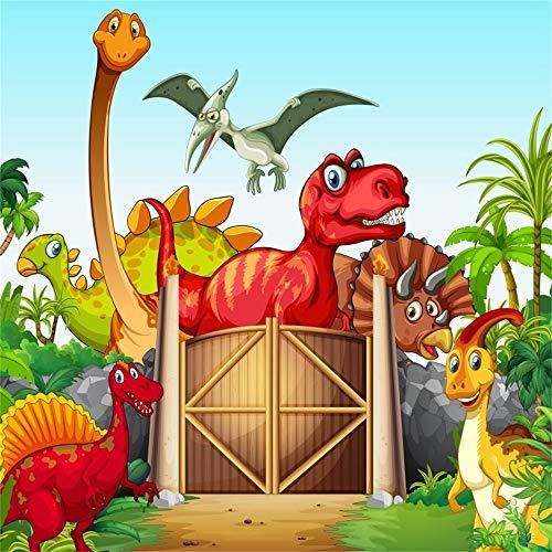 nyl Foto Hintergrund Erster Geburtstag Cartoon Tiere Dinosaurier Zoologischer Garten Fotografen Photoshoot Fotografie Hintergrund Baby Party Banner Kinder Fotostudio Requisiten ()