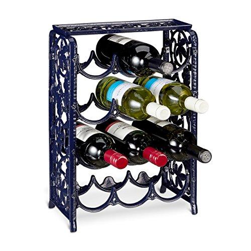 Relaxdays Weinregal aus Gusseisen für 12 Flaschen Wein HBT ca. 45 x 31 x 18 cm Flaschenregal aus Eisen mit Ablagefläche Weinständer für Küche und Esstisch Weinflaschenregal freistehend, dunkelblau