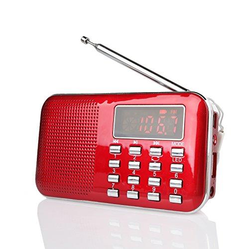 Radioddity RF23 tragbar AM/FM Transistor Radio MP3 Musik Player, leicht und Ultra dünn, unterstützt Mikro TF Karte USB, Flash Light (Rot)