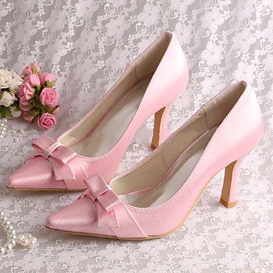 Rtry Femmes Chaussures De Mariage Pompe Base Satin Stretch Printemps Automne Fête De Mariage & Amp; Soirée Bowknot Stiletto Heelivory Champagne Blushing Rose Us9.5-10 / Eu41 / Uk7.5-8 / Cn42