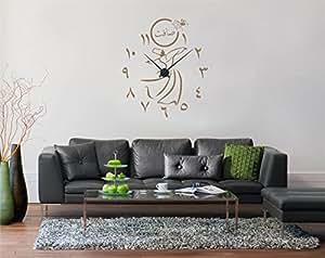 wandtattoo uhr semazen und arabische ziffern mit wunschname inkl uhrzeiger braun matt. Black Bedroom Furniture Sets. Home Design Ideas