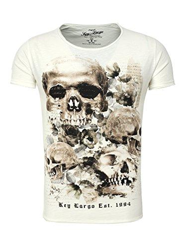 Key Largo Herren T-Shirt PRIME Totenkopf Rosen Vintage Look Sommershirt weiß L