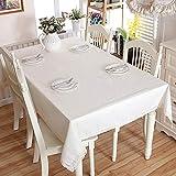 DXSX Modernes Minimalistisches, Weiß, Tischdecke, rechteckig, Lace Side Tischdecke Hochzeit-Tischdecke, Baumwolle, Leinen Tischdecke Multi Größen Lacy Heimdekoration (100cm X160cm(39.4
