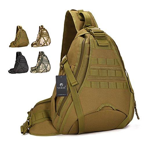 YAAGLE Groß Fassungsvermögen Reisetasche Schultertasche Gepäck militärisch Brustbeutel 14 zoll Laptoptasche Fahrradrucksack Bergsteigen Kuriertasche-braun