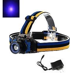 ReGrand - Linterna frontal con luz LED (recargable, 3 modos, 395-410 nm, luz ultravioleta LED, para detectar dinero, fugas de gas y orina de gato y perro (con batería recargable de iones de litio)