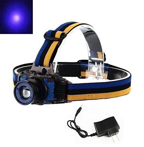 WINDFIRE Wiederaufladbare Zoomable 3Modi 395-410nm uv-Ultraviolet LED Blacklight Headlam für Geld-Detektor, Lecksucher und cat-Dog-pet Urin Detektor (mit integriertem Li-Ion Akku)