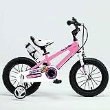 Kinderfahrräder YANFEI Royal Baby Free Style Space KINDERBIKE mit Heavy Duty STABILISATOREN + Bell + WASSERFLASCHE und Halter Kindergeschenk (Farbe : Pink, Größe : 14Inch)