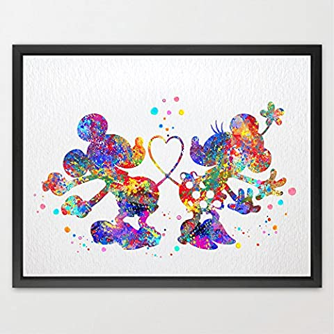 Dignovel Studios A4 Mickey and Minnie Disney watercolour Print kids
