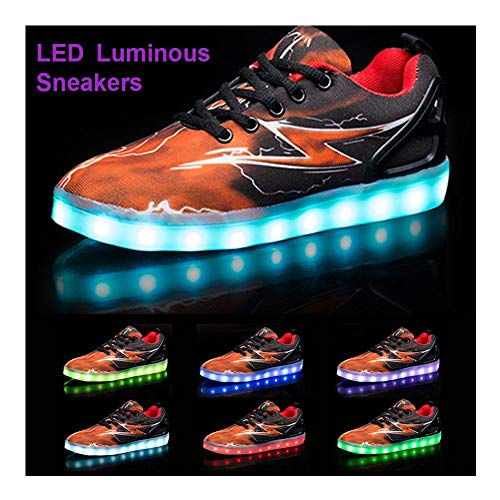 Light Up LED Ottica Scarpe 7 Colori Fibra Basso Ultraleggero Sneakers USB Ricaricabile Traspirante Sport Baskets Flat Shoes Lampeggiante Sportive Moda Running Scarpine Donna