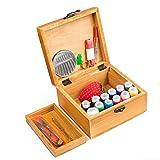Battop Nähset, 49-teilig, Holz-Nähkästchen mit Kurzwaren, Haushalt, Reise, Notfälle Original Wood Color