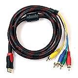 Kouelt Cavo da HDMI a RCA, 1,5m, da HDMI Tipo A Maschio a 5 Spinotti RCA Maschio, Adattatore Audio e Video per HDTV, Lettori DVD e per la Maggior Parte dei Proiettori LCD