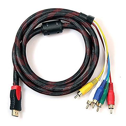 Câble HDMI vers RCA, 1,5m 1.5m HDMI 19broches de type A mâle vers 5rca Male Plug Audio Vidéo AV Component câble adaptateur convertisseur pour HDTV DVD et la plupart des projecteurs LCD