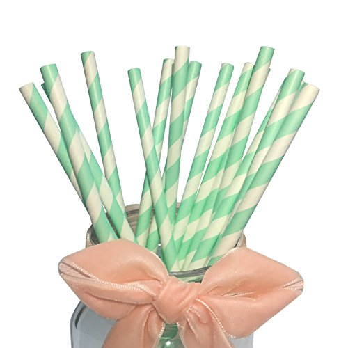 Paquete de 100 pajitas de papel color verde menta, diseño de rayas, de 19,7 cm,...