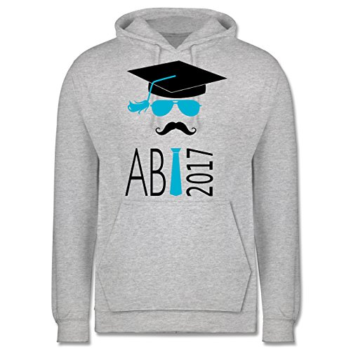 Abi & Abschluss - Hipster Abi 2017 Mustache - Männer Premium Kapuzenpullover / Hoodie Grau Meliert