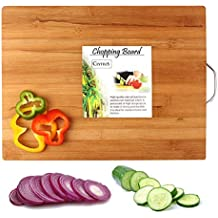 CLYTIUS Cutting Board with Handle(Brown, Bamboo, 40x30x1.8cm)