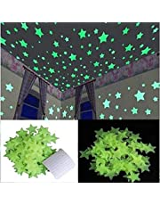 Satya Vipal™ Green Color Fluorescent Glow in The Dark Star Wall Sticker(30 Stars, 4x4 cm)