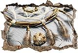 Traumfänger mit Federn B&W Detail Wanddurchbruch im 3D-Look, Wand- oder Türaufkleber Format: 92x62cm, Wandsticker, Wandtattoo, Wanddekoration