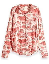 Scotch & Soda Relaxed Fit Drop Shoulder Cotton Viscose Button Up Shirt, Blusa para Mujer