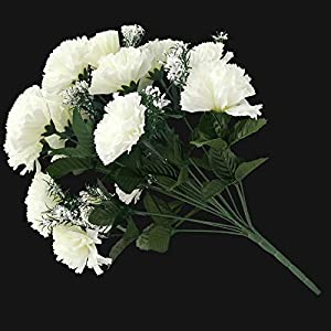 Ramo de 18 flores claveles en marfil artificiales para boda/tumba/jarrón