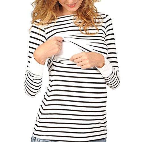 (Amphia - Gestreifte stillende Oberteile der schwangeren FrauenFrauen-Mamma-Schwangere Krankenpflege-Baby-Mutterschafts-langärmelige Streifenoberseite Bluse kleiden - (Weiß,S))