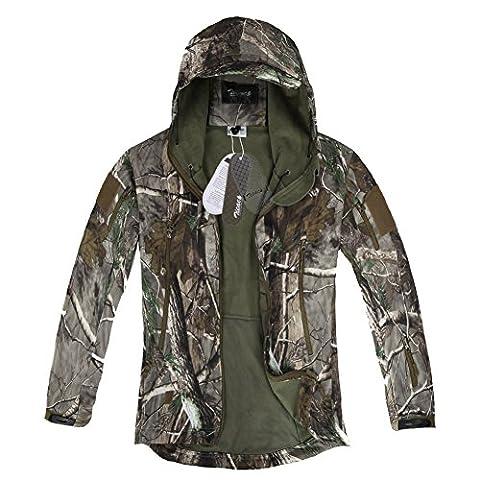 Zicac Veste jacket manches longue à capuche camouflage Softshell imperméable
