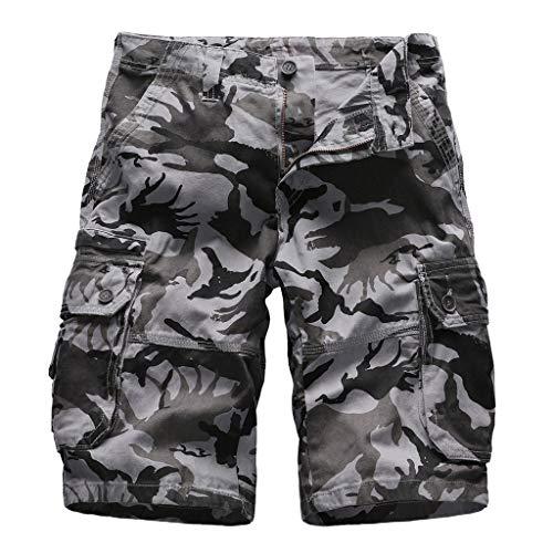 Clark-taste (Xmiral Shorts Herren Im Freien Einfarbig Cargohose Strandshorts Zipper-Taste Freizeitkleidung Jogger Fitness Atmungsaktive schnell(G Dunkelgrau,S))