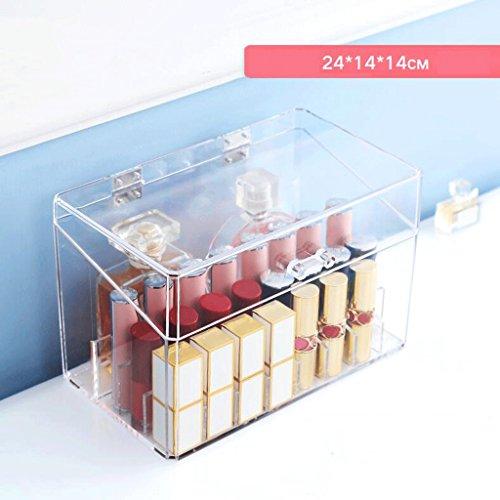 UOMUN Étui de Maquillage Composer le stockage cosmétique de Tableau acrylique de Tableau d'affichage de rouge à lèvres 24-Grilles avec la couverture Rectangle transparent multifonctionnel de grand diamètre antipoussière