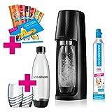 SodaStream Easy Wassersprudler-Set Promopack mit CO2-Zylinder, 2x 1 L PET-Flasche, 2x Trinkgläser, 6x Sirupproben, schwarz