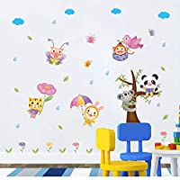 FUZILV Lovely Panda On The Tree Cartoon Animals With Umbrella Wall Stickers For Kids Rooms Baby Room Wall Decal Home Decor