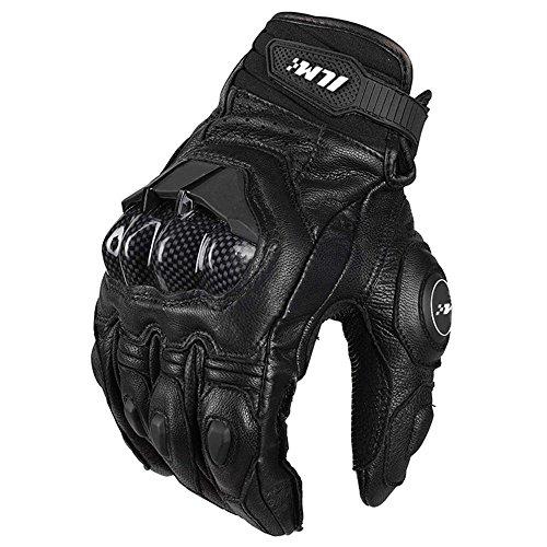 Air Flow Leder Motorrad Handschuhe für Männer und Frauen(M,Schwarz) (Motorrad-lenker-handschuhe)