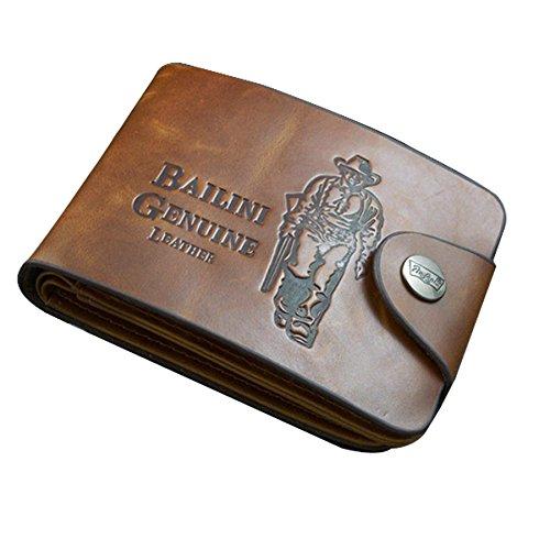 melysEU Männer Mode Brief Drucken dünne Kurze Bifold Offene Brieftaschen Leather Pockets Credit/ID Cards Holder Purse Wallet (Stil1)
