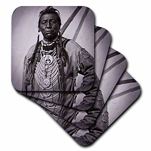 Szenen aus der Vergangenheit Vintage stereoviews–Zwei Guns Weiß Kalb Blackfoot Indian Chief Profil auf Buffalo Nickel Graustufen–Untersetzer, keramik, weiß, set-of-4-Ceramic (Vergangenheit-keramik-tasse)