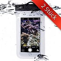 Movoja® [ 2er Unterwasser-Handy-Schützhülle ]   Wasserdichte Tasche   Wasser und staubdichte Hülle für alle Smartphonemodelle bis 5.5 Zoll   iPhone 6 6s 7 7 Plus Huawei Samsung S7 S8  Ideal für Unterwegs   Perfekter Sandschutz   Unterwasserhülle 2er Set