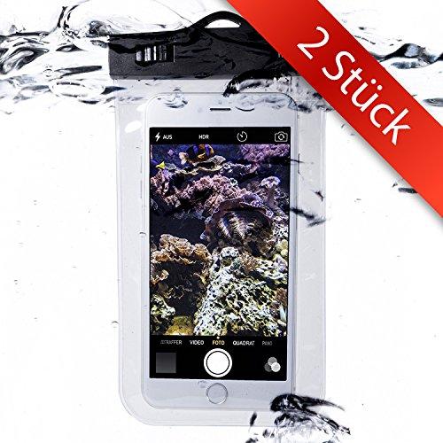 2 STÜCK - Unterwasser-Handy-Schützhülle | Wasserdichte Tasche | Wasser und staubdichte Hülle für alle Smartphonemodelle bis 5.5 Zoll | iPhone 6 6s 7 7 Plus Huawei Samsung S7 S8 | Perfekter Sandschutz