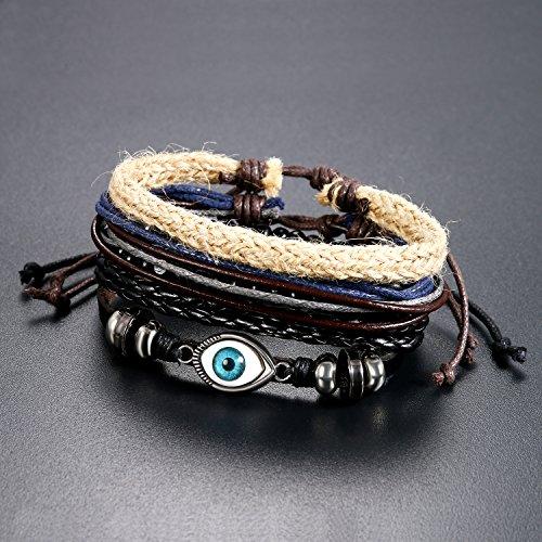 5 Stück Herren Armband Leder Armband Armbänder Schmuck Set schwarz , OIDEA Vintage Breite Geflochten Lederarmband Surferarmband Armreifen , verstellbar - 5