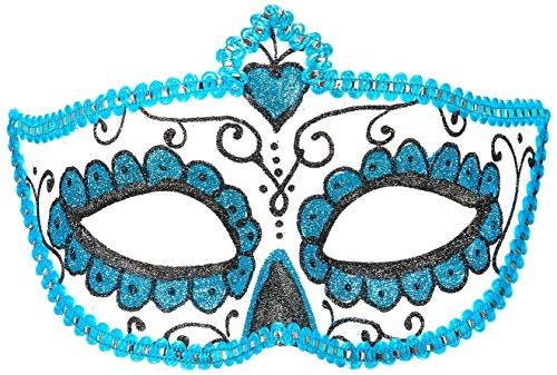 �Maske Dia de los Muertos, schwarz/hellblau, Einheitsgröße (Dia De Los Muertos-shop)