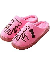 SLIPPERSXSJ Zapatillas De Algodón para Mujer con Suela Gruesa De Invierno, Bolsa De Tela De