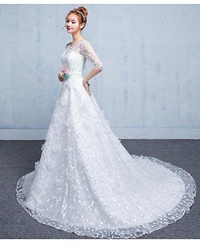 Beauty-Emily Damen A-Linie Kleid weiß Bianco 34 Bianco