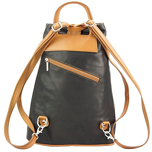 9864116857c50 ... Rucksack-Tasche und Schultertasche Fiorella mit vielen Taschen aus echtem  Leder aus Italien Schwarz  ...