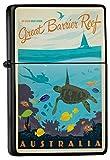 LEotiE SINCE 2004 Feuerzeug Schwarz Benzinfeuerzeug Sturmfeuerzeug Metallfeuerzeug Great Barrier Reef Australien Wasserschildkröte Fisch Korallen