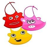 Lantelme 5394 Silikon Babylätzchen Set rot + pink + gelb Set