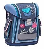 Ergonomischer Schulranzen Herz Blau für die Grundschule - 1-3 Klasse/Mädchen / Blau und Jeans von Belmil